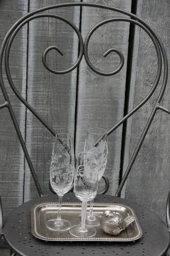 verre gravé Noëlle Sandoli Les points de bonheur