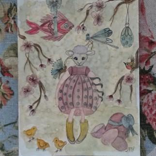 Aquarelle Mouton - Noelle Sandoli - Les points de bonheur