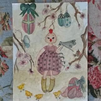 Aquarelle poule - Les points de bonheur - Noelle Sandoli