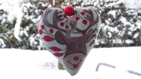 Coeur peint à la main - Les points de bonheur - Noel