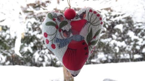 Coeur peint à la main - Noel - Les points de bonheur