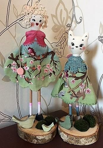 poupée printemps et son chat Les points de bonheur Noëlle Sandoli